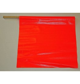 "USA-SIGN® Flag, Traffic, 18"" x 18"" with 24"" Wooden Staff"