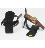 Buckingham Climber footplates compatible with any steel or titanium climber.   Provide added comfort when standing on a pole.  Two plates, one with a rubber sole that faces down, fasten together on the climber stirrup with two screws.  Not for use with aluminum clim