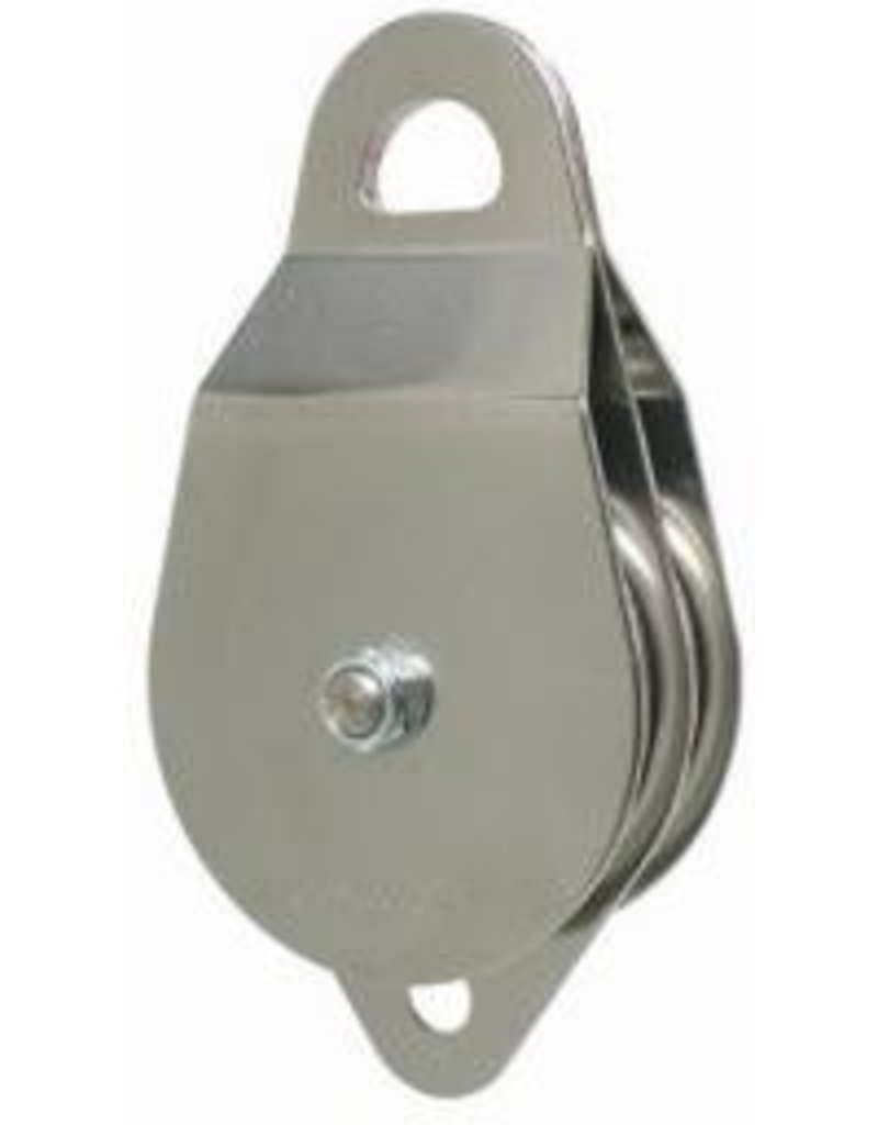 """CMI Stainless Steel sideplates, two 4"""" Aluminum sheaves, Bushing, and Stainless Steel axle."""