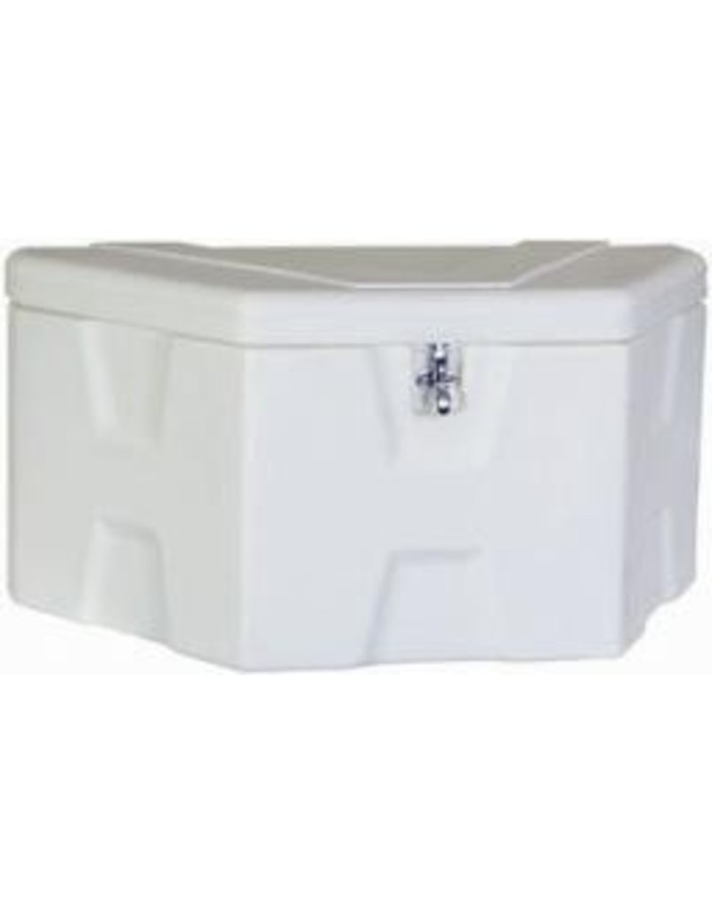 TOOLBOX WHITE POLY SS HASP Fits Front of Trailers