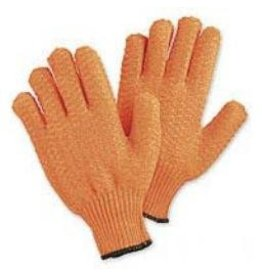 Glove Gloves Orange Polyester String Knit with Tacky Criss-Cross Coating