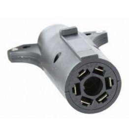 TRAILER PLUG ADAPTER, 7-Pin Flat to 6-Pin Round Adapter, Plastic (center pin auxiliary power)