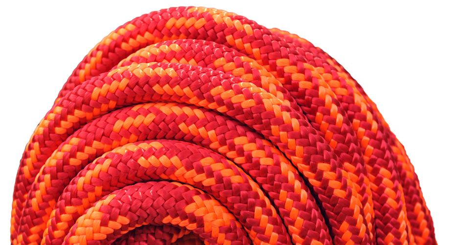 """All Gear Inc. Cherry Bomb 7/16"""" (11.5mm) x 150' 24 strand polyester double braid red and neon orange 6,300lbs"""
