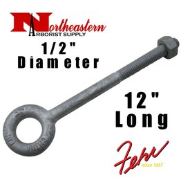 "Fehr Bros. Eye Bolt 1/2"" x 12"" Drop Forged Galvanized Working Load Limit 2,600#"