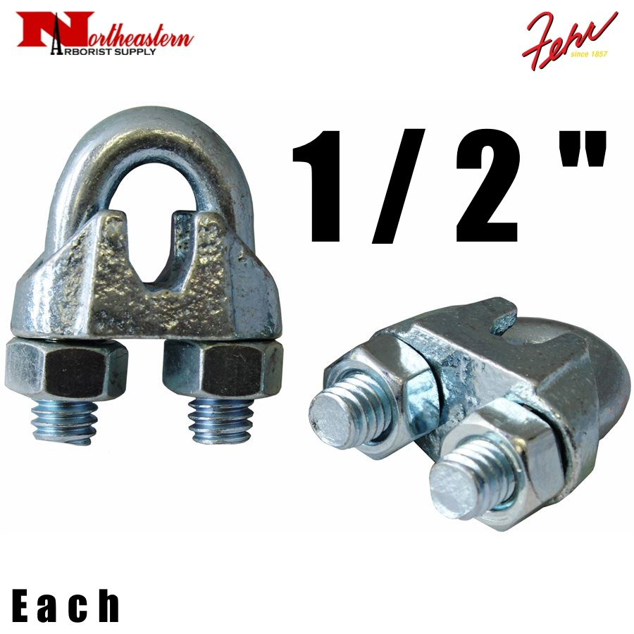"""Fehr Bros. Zinc Plated Malleable Wire Rope Clip 1/2"""""""