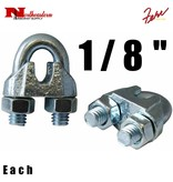 """Fehr Bros. Zinc Plated Malleable Wire Rope Clip 1/8"""""""