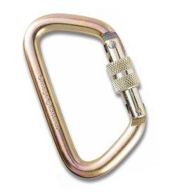 "Omega Pacific Standard D Gold 1/2"" Steel Side Swing Screw-Lock NFPA Carabiner"