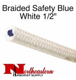 "Teufelberger BRAIDED Safety Blue, White 1/2"" x 1200' 5,800# MBS"