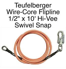 """Teufelberger Flipline Hi-Vee 1/2"""" x 10' with SWIVEL SNAP"""