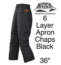 "Stihl Woodcutter Apron Chaps, 6-Layer, Black, 36"" Length"