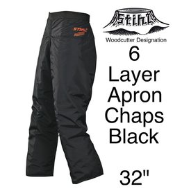 "Stihl Woodcutter Apron Chaps, 6-Layer, Black, 32"" Length"