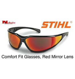 Stihl Comfort Fit Safety Glasses, Black Frame, Red Lens