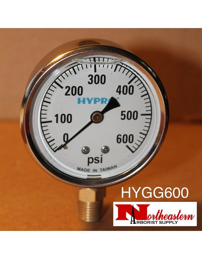 "Hypro® Gauge 0-600 PSI, Glycerin Filled, Stainless Case 1/4"" NPT Base Mount"