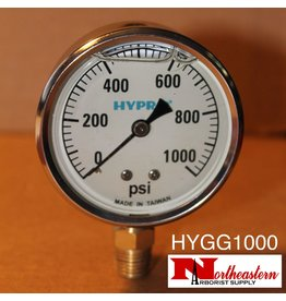 "Hypro® Gauge 0-1000 PSI, Filled, Stainless Case 1/4"" NPT Base Mount"