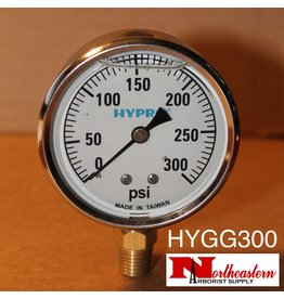 "Hypro® Gauge 0-300 PSI, Filled, Stainless Case 1/4"" NPT Base Mount"