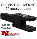 "CLEVIS/BALL MOUNT, 2"" receiver, 1"" Holes, 6,000# M.G.T.W."