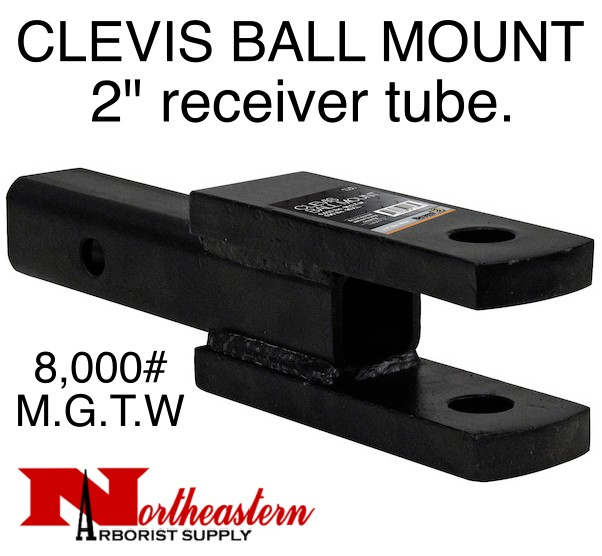"""CLEVIS/BALL MOUNT, 2"""" receiver, 1"""" Holes, 8,000# M.G.T.W."""