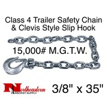 """Safety Chain, 3/8"""" x 35"""" w/Forged Clevis Slip Hook. 15,000#"""