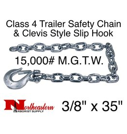 "Safety Chain, 3/8"" x 35"" w/Forged Clevis Slip Hook. 15,000#"