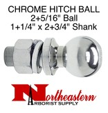 "Towing Hitch Ball, Chrome 2+5/16"" Ball x 1+1/4"" Shank"