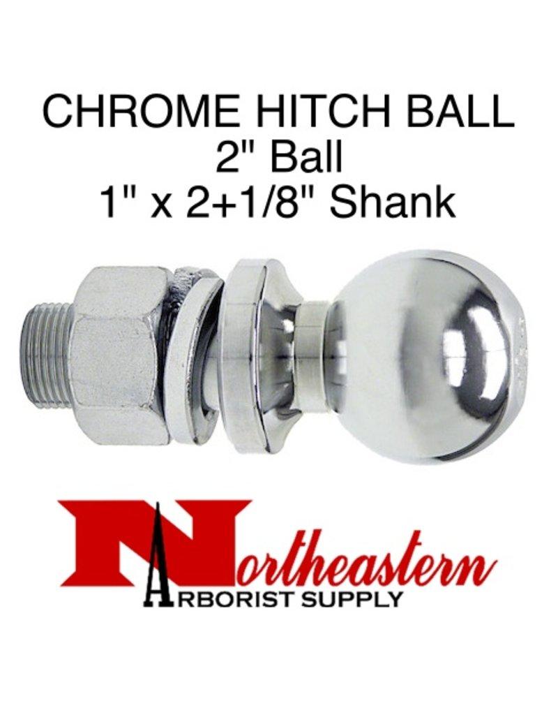 "Towing Hitch Ball, Chrome 2"" Ball, 1"" x 2+1/8"" Shank"