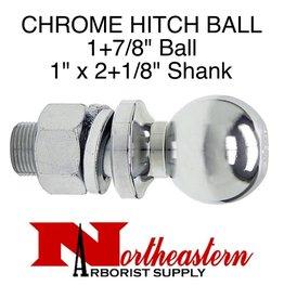"Towing Hitch Ball, Chrome 1+7/8"" Ball, 1"" x 2+1/8"" Shank"