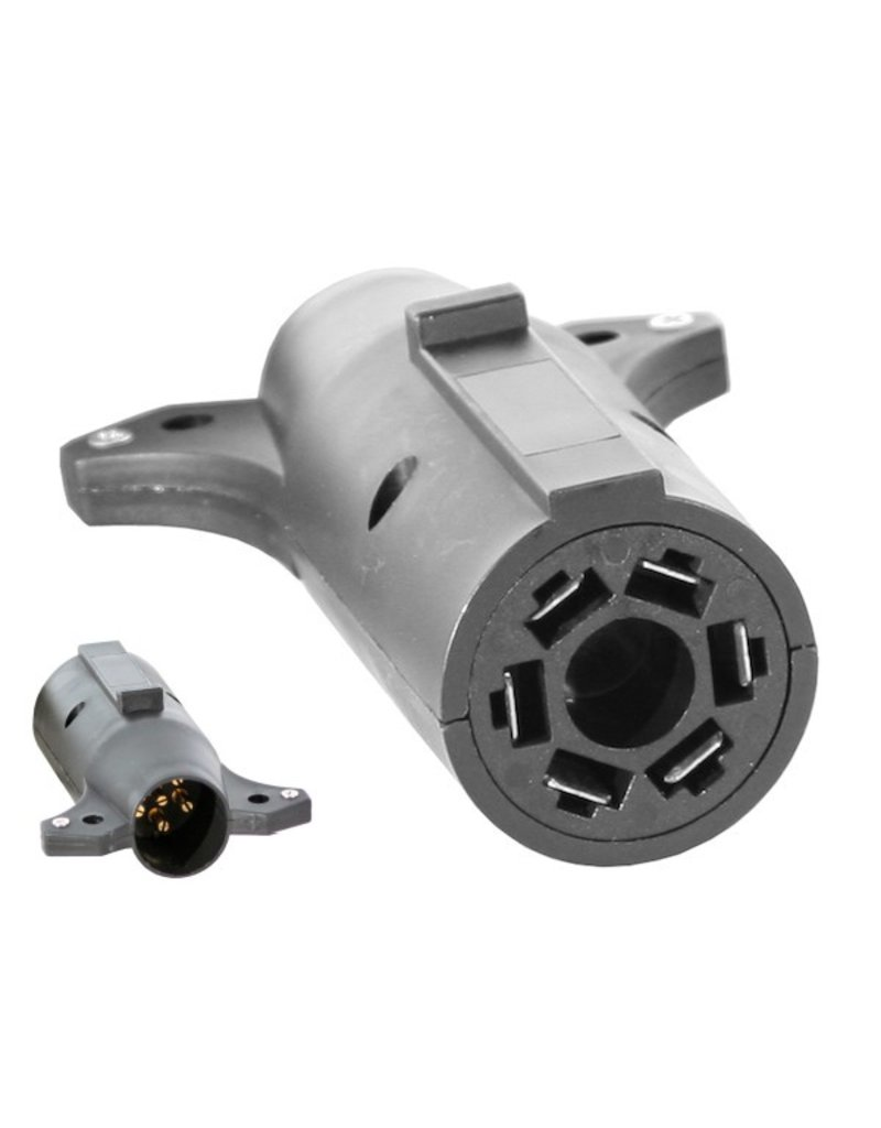 7-Pin Flat to 6-Pin Round Adapter, Plastic (center pin auxiliary power)