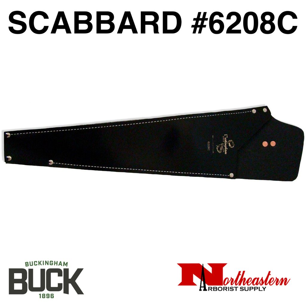 """Buckingham Rubberized belting material straight saw scabbard. Designed to be used with pruning saws with a 22"""" to 26"""" blade length. Overall length measures 26"""" with a 19 1/2"""" pocket depth."""