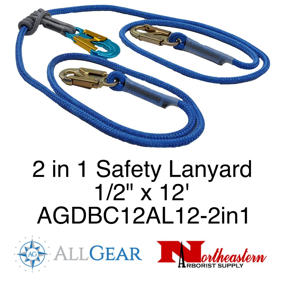 "All Gear Inc. All Gear's 2 in 1 Safety Lanyard 1/2"" X 12' with Adjustable Prusik and 3 Locking Snaps"