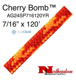 """All Gear Inc. Cherry Bomb 7/16"""" (11.5mm) x 120' 24 strand polyester double braid red and neon orange 6,300lbs. ABS"""
