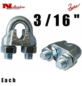 """Fehr Bros. Zinc Plated Malleable Wire Rope Clip 3/16"""""""