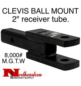 "CLEVIS/BALL MOUNT, 2"" receiver, 1"" Holes, 8,000# M.G.T.W."