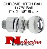 "Towing Hitch Ball, Chrome 1+7/8"" Ball, 1"" x 2+1/8"" Shank"