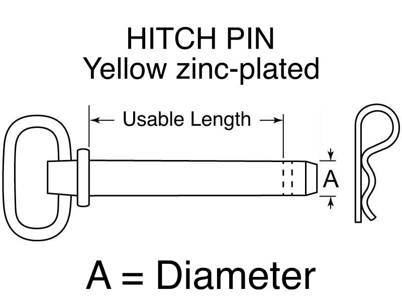 "HITCH PIN Yellow zinc-plated 5/8"" x 6+1/4"""