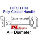 """HITCH PIN, Poly-Coated Handle, powder-coated steel shank, 5/8"""" x 4"""""""