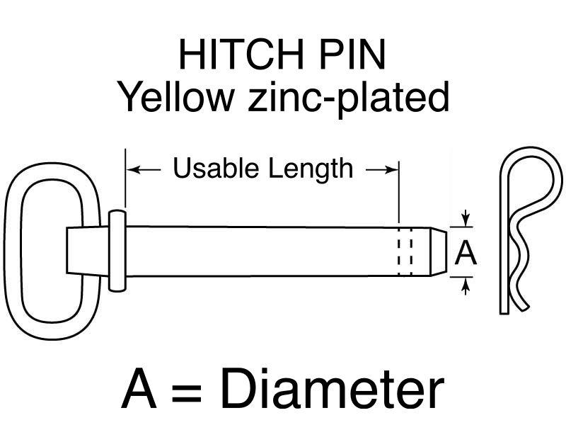 """HITCH PIN Yellow zinc-plated 5/8"""" x 4+1/4"""""""