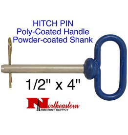 "HITCH PIN, Poly-Coated Handle, powder-coated steel shank, 1/2"" x 4"""