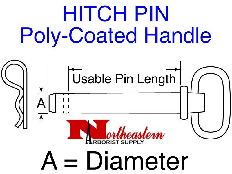 "HITCH PIN, Poly-Coated Handle, powder-coated steel shank, 3/4"" x 4+1/2"""