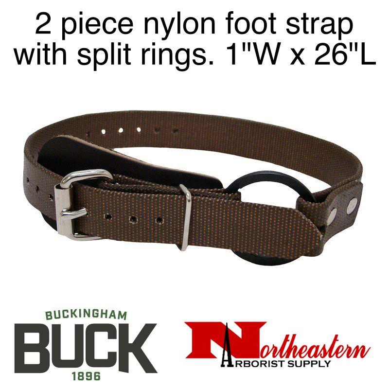 "Buckingham Climber, Two piece nylon foot strap with split rings. 1""W x 26""L"