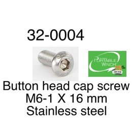 PORTABLE WINCH CO. Button Head Cap Screw, M6-1 x 16mm Stainless Steel, 32-0004