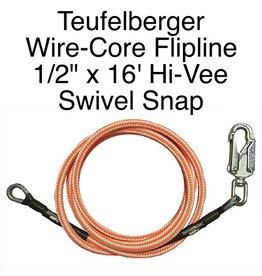 """Teufelberger Flipline Hi-Vee 1/2"""" x 16' with SWIVEL SNAP"""