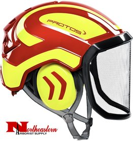 PROTOS Integral Arborist Helmet, Red and Yellow