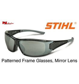 Stihl Patterned Frame Glasses with Silver Mirror Lens