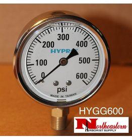 "Hypro® Gauge 0-600 PSI, Filled, Stainless Case 1/4"" NPT Base Mount"