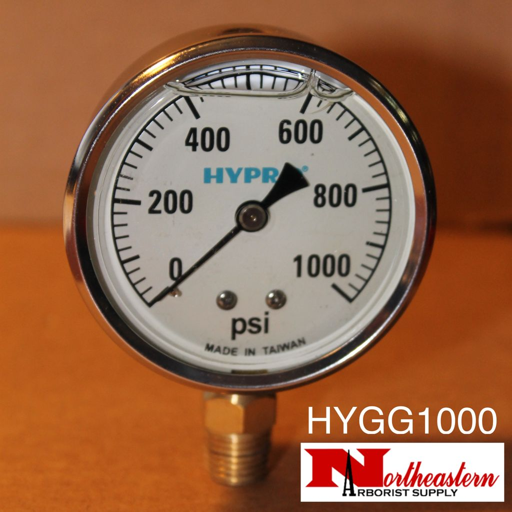 "Hypro® Gauge 0-1000 PSI, Glycerin Filled, Stainless Case 1/4"" NPT Base Mount"