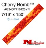 "All Gear Inc. Cherry Bomb 7/16"" (11.5mm) x 150' 24 strand polyester double braid red and neon orange 6,300lbs"