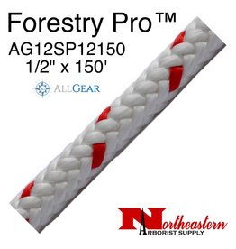 """All Gear Inc. Forestry Pro™ 1/2"""" x 150' 12-Strand Polyester White with Red Tracer"""