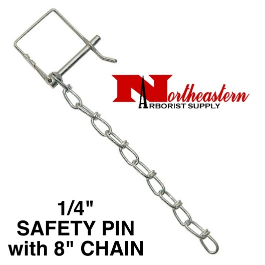 """PIN & CHAIN for HITCH 1/4"""" Diameter (Safety Pin Clip with 8"""" Chain Installed)"""