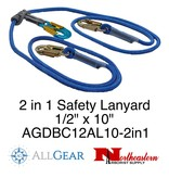 "All Gear Inc. All Gear's 2 in 1 Safety Lanyard Double Braided Polyester Lanyard 1/2"" x 10'"