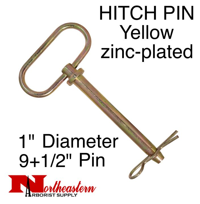 """HITCH PIN Yellow zinc-plated 1"""" x 9+1/2 Inch Usable Length"""